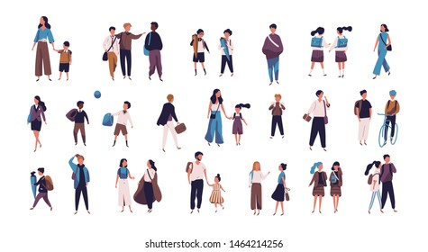 Crowd of pupils, school children with parents and students going to school, college or university. Tiny people on street isolated on white background. Colorful illustration in flat style.