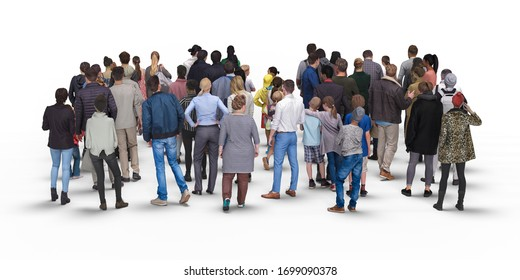 Crowd or queue rear view. Illustration on white background, 3d rendering isolated.