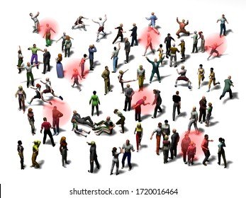 Crowd with red markings of infectious people, 3d illustration