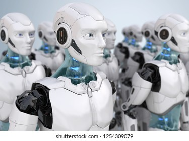 Crowd of robots. 3D illustration