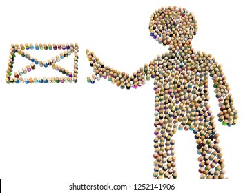 Crowd of small symbolic figures forming big person shape getting mail, 3d illustration, horizontal, isolated, over white