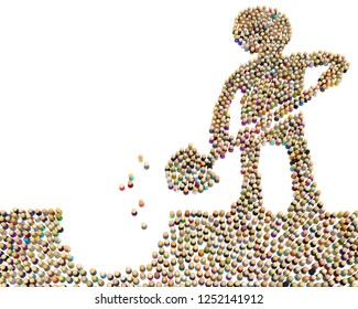 Crowd of small symbolic figures forming big person shape digging, 3d illustration, horizontal, isolated, over white
