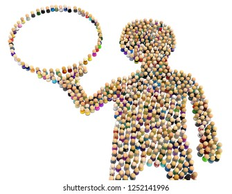 Crowd of small symbolic figures forming big person shape holding bubble, 3d illustration, horizontal, isolated, over white