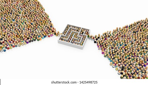 Crowd of small symbolic figures, labyrinth bottleneck, 3d illustration, horizontal background, over white, isolated