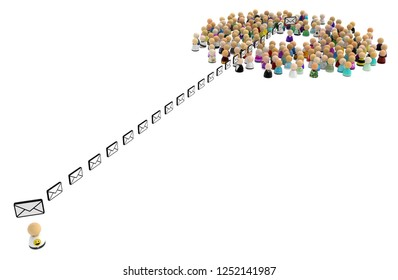 Crowd of small symbolic figures, mail send one, 3d illustration horizontal, over white, isolated