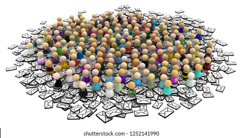 Crowd of small symbolic figures, mail pile, 3d illustration horizontal, over white, isolated