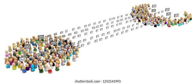 Crowd of small symbolic figures, mail exchange, 3d illustration horizontal, over white, isolated