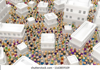 Crowd of small symbolic figures, white buildings town population, 3d illustration, horizontal background