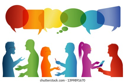 Crowd talking. Communication between group of people who talk. Communicate social networking. Dialogue between people. Multicolored profile silhouette. Speech bubble