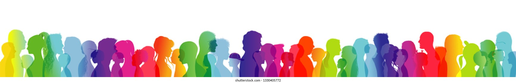 Crowd talking. Dialogue between people of different ages and ethnic groups. Rainbow colored profile silhouette. Many different people talking. Diversity between people. Multiple exposure