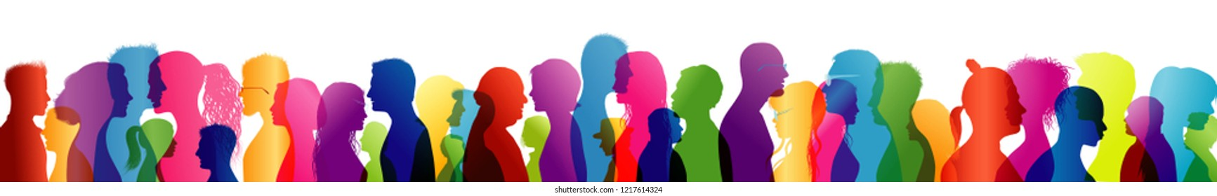 Crowd talking. Group of people talking. To communicate. Speak. Colored silhouette profiles