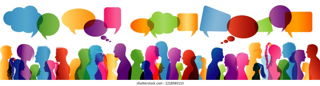 Crowd talking. Group of people talking. Communication between people. Colored profile silhouette. Speech bubble