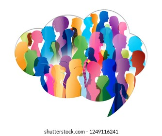 Crowd talking. Group of people talking. Communication. Speech bubble. Colored silhouette people profile in cloud shape