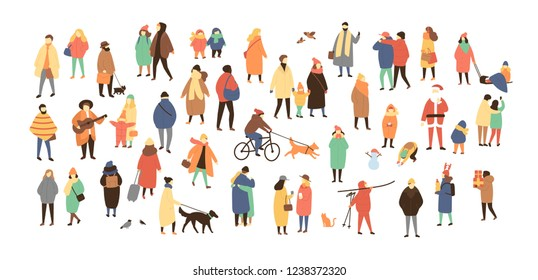 Crowd of tiny people dressed in winter clothes or outerwear walking and performing outdoor activities. Bustle and scurry on city streets before Christmas or New Year. Flat cartoon illustration.