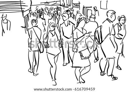 crowd walking cartoon sketchのイラスト素材 616709459 shutterstock