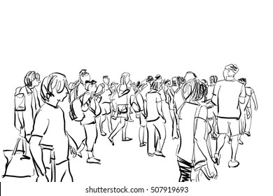 how to draw a crowd in the background