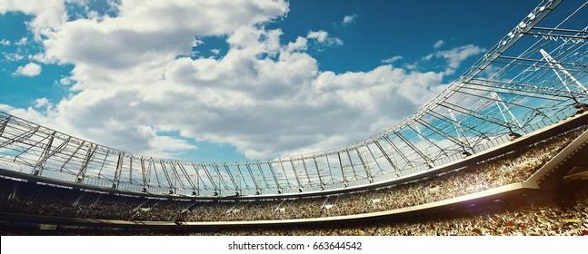 crowded stadium on blue cloudy sky