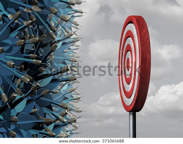 Crowded target business concept as a group of confused darts congested in a bottleneck  aiming for a common goal target as a metaphor for oversupply and excessive competition for limited opportunity.