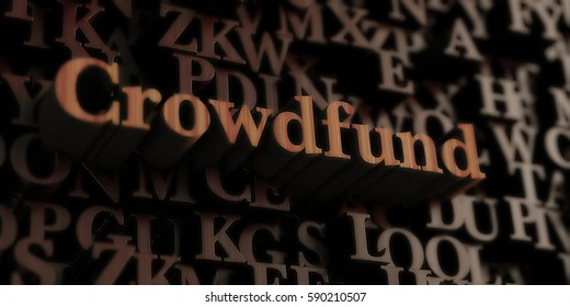 crowdfund - Wooden 3D rendered letters/message.  Can be used for an online banner ad or a print postcard.