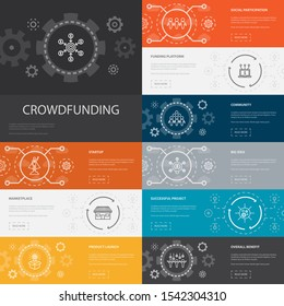 Crowdfunding Infographic 10 line icons banners.startup, product launch, funding platform, community simple icons