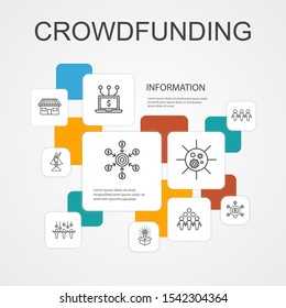 Crowdfunding Infographic 10 line icons template.startup, product launch, funding platform, community simple icons