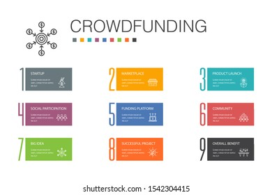 Crowdfunding Infographic 10 option line concept.startup, product launch, funding platform, community simple icons