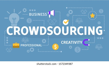 Crowdsourcing concept. Global team sharing idea in social network. Outsourcing project. Isolated  flat illustration
