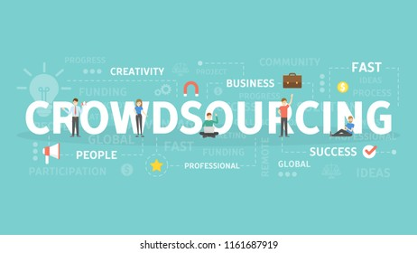 Crowdsourcing concept illustration. Idea of people and global success.