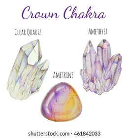 Crown chakra stones set. Close up illustration of gems drawn by hand with colored pencils.