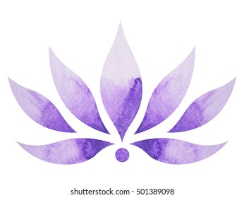 crown chakra symbol concept, flower floral, watercolor painting color hand drawn icon logo, illustration design sign