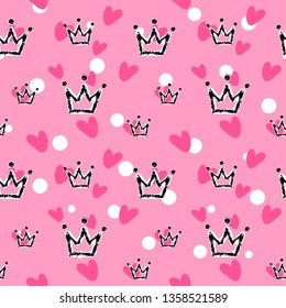 Crown and heart, girly sweet  seamless pattern. Romantic style, hand drawn elements. Texture, pink, black trendy colors. Applicable as endless textile or wrapping paper prints and backgrounds.
