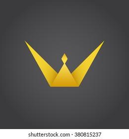 Crown king, w letter logo, 3d raster