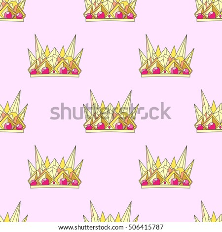 Crown Pink Pattern Doodle Gold Wallpaper Texture
