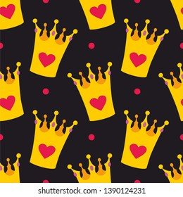 Crown and polka dots seamless background or tile pattern