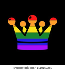 Crown in rainbow colors  icon.