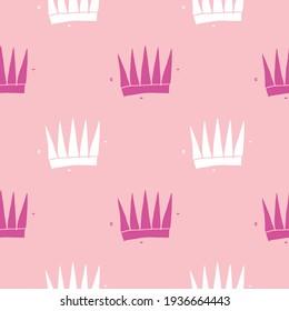 Crown Seamless Pattern, hand drawn royal doodles background, Illustration.