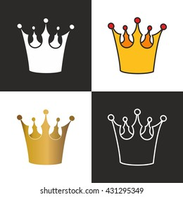Crown set isolated on black and white background