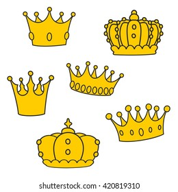 Crown set isolated on white background