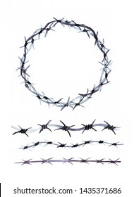 Crown of thorns from barbed wire hand drawn ink watercolor illustration. Collection for your design on white background