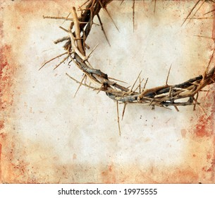 Crown of thorns on a grunge background. Copy-space for your text.