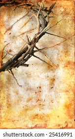 Crown of Thorns on a grungy background with copy-space for your text.
