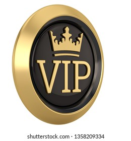 Crown VIP icon isolated on white background 3D illustration.