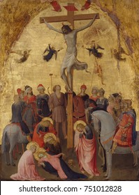 THE CRUCIFIXION, by Fra Angelico, 1420_23, Italian Renaissance painting, tempera on wood, gold ground. This Crucifixion by the Dominican friar, Fra Giovanni da Fiesole, includes human drama in the ico