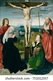 THE CRUCIFIXION, by Gerard David, 1495, Netherlandish, Northern Renaissance painting, oil on wood. Crucifixion includes the Church Father, Saint Jerome, reading about the crucifixion in the Latin Bibl