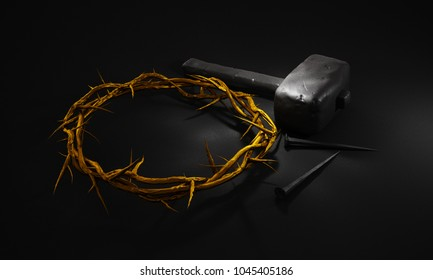 Crucifixion Of Jesus Christ - Cross With Hammer Nails And Gold Crown Of Thorns 3D Rendering