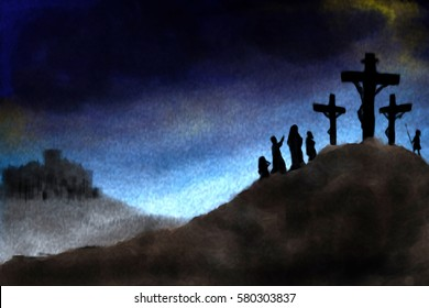 Crucifixion of Jesus Christ on Calvary hill . abstract artistic modern digital pastel style illustration for Holy Week, Passion of Christ, Good Friday