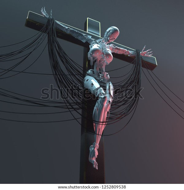 crucifixion of a robot on the cross, 3d illustration