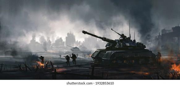 Cruel war scenes, digital painting,3D illustration.