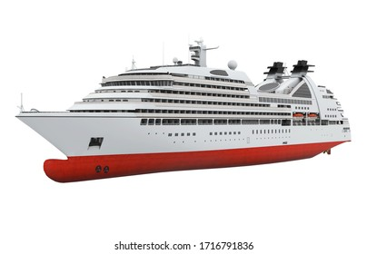 Cruise Ship Isolated. 3D rendering