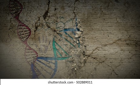 Crumbling Wall Revealing the Dna Chain, Formula, Brain, Hand Print, Dna Cell. the Resolution of 4K.